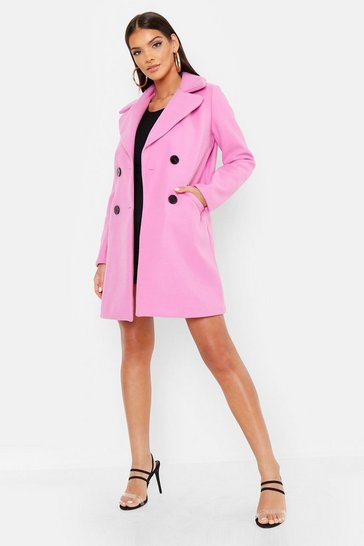 Womens Pink Mock Horn Button Wool Look Coat