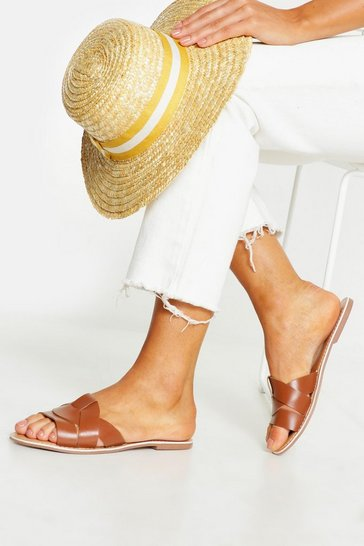 Womens Tan Leather Asymmetric Sliders
