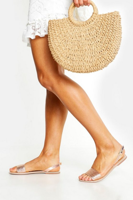 Rose gold Leather Woven Slingback Sandals