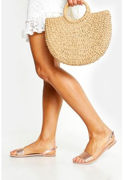 Womens Rose gold Leather Woven Slingback Sandals