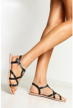 Womens Black Cross Strap Leather Sandals