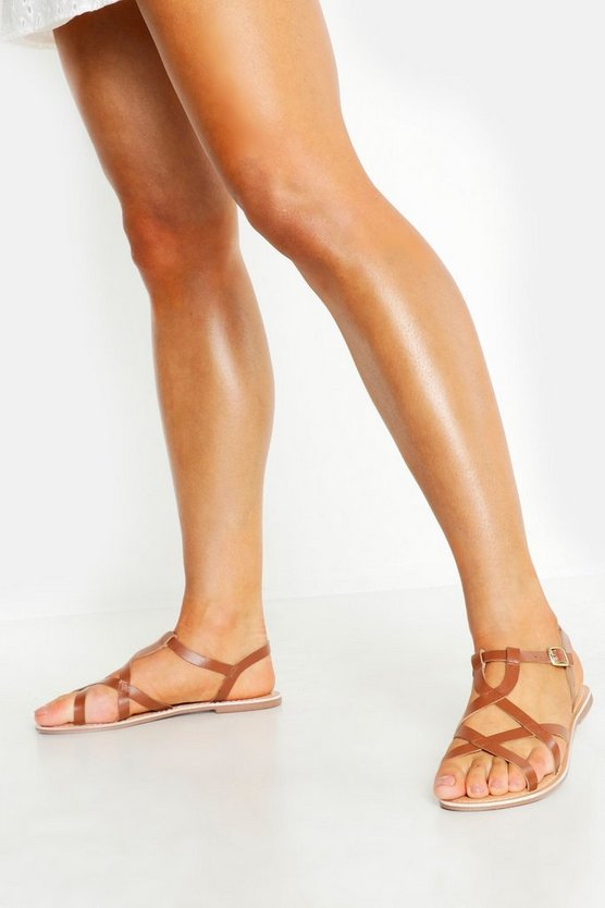 Womens Tan Cross Strap Leather Sandals