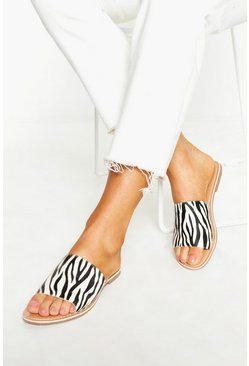 Womens Black Leather Zebra Print Sliders