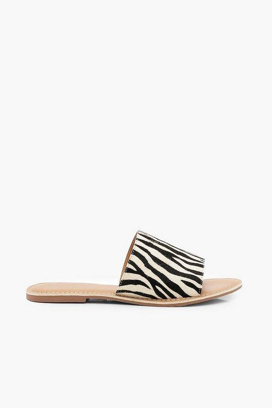 Leather Zebra Print Sliders