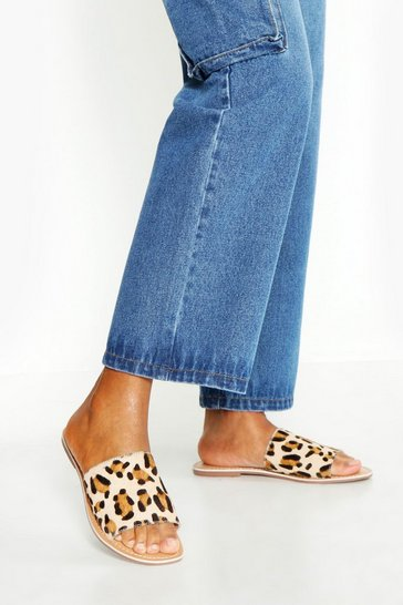 Womens Leather Leopard Sliders