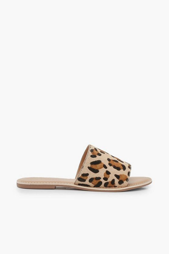 Leather Leopard Sliders