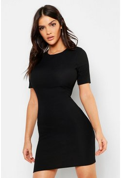 Stone Ribbed Mini Dress