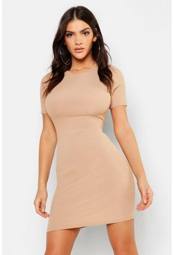 Womens Stone Ribbed Mini Dress