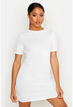 Womens White Ribbed Mini Dress