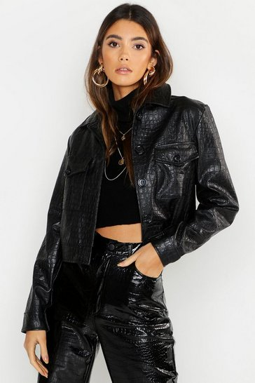 Womens Faux Croc Trucker Jacket