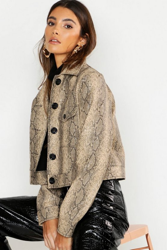 Womens Sand Faux Croc Trucker Jacket