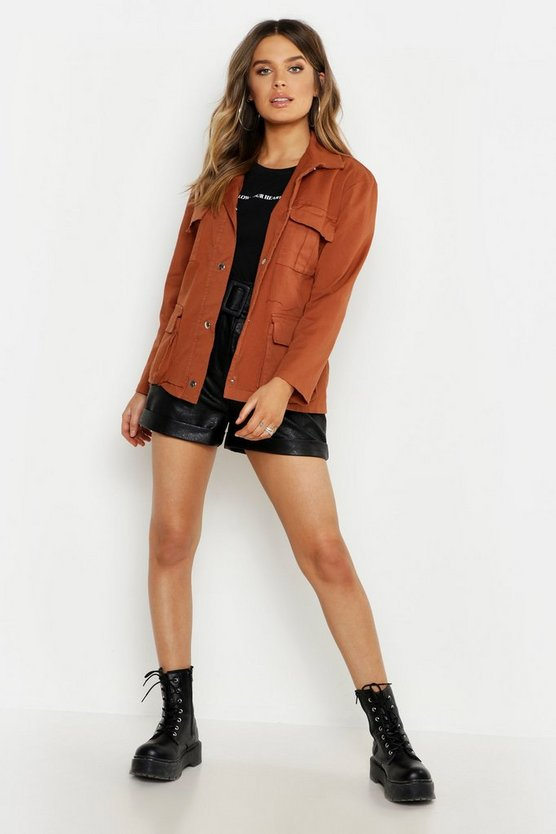 Rust Double Pocket Belted Utility Jacket