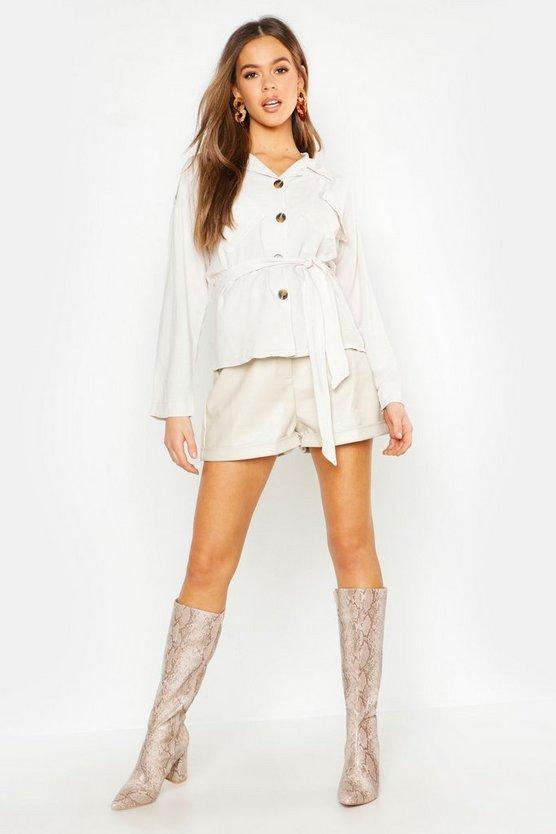 Belted Linen Utility Jacket