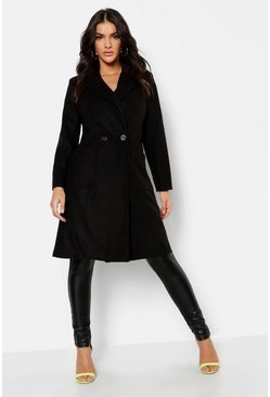 Womens Black Double Breasted Longline Wool Look Coat