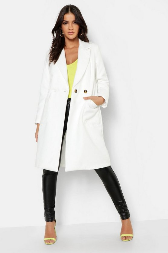 Womens White Double Breasted Longline Wool Look Coat