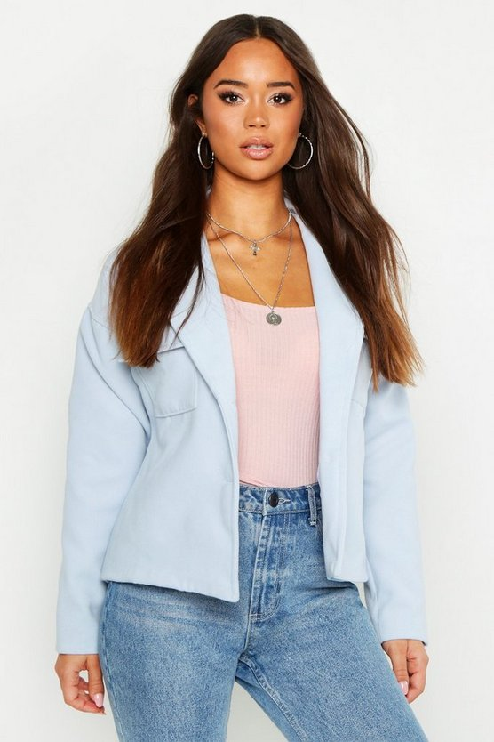 Womens Baby blue Double Pocket Wool Look Trucker Jacket
