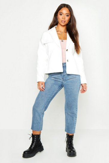 Womens Cream Double Pocket Wool Look Trucker Jacket