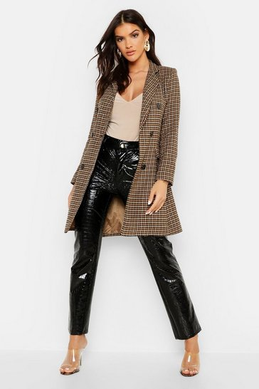 Womens Brown Dogtooth Double Breasted Tailored Coat