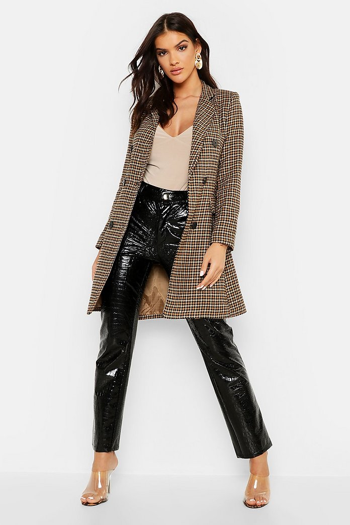 Zweireihiger, eng anliegender Mantel mit Hahnentrittmuster | Boohoo