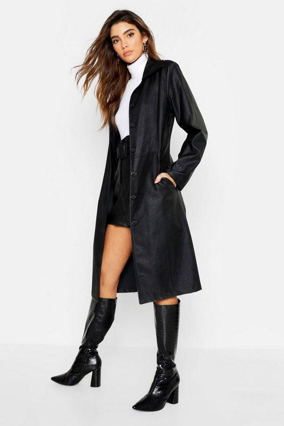 Womens Black PU Button Up Trench