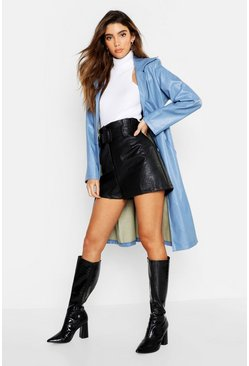 Womens Denim-blue PU Button Up Trench