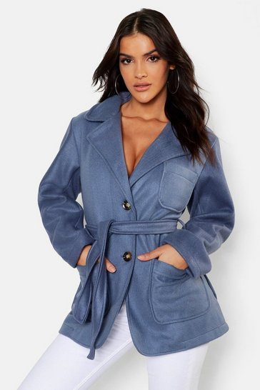 Womens Denim-blue Short Pocket Detail Belted Wool Look Coat