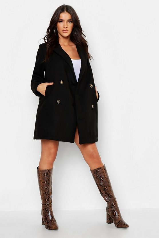 Womens Black Oversized Double Breasted Wool Look Coat