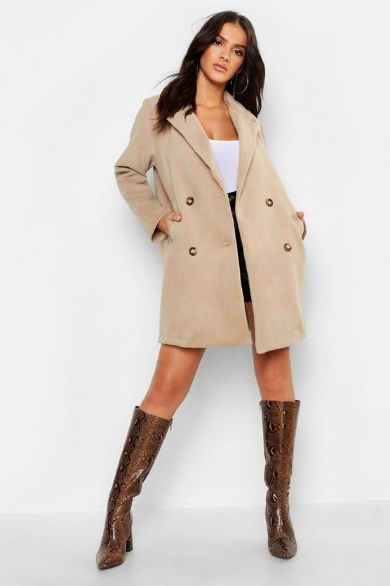 Womens White Oversized Double Breasted Wool Look Coat