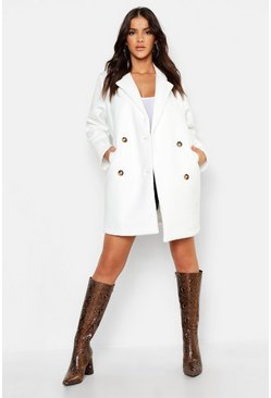 Oversized Double Breasted Wool Look Coat, White, Donna