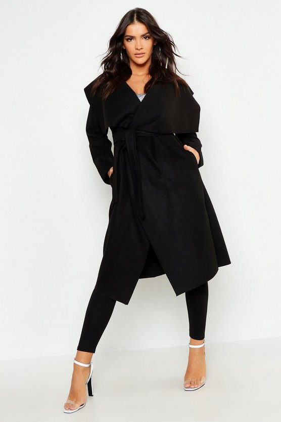 Womens Black Shawl Collar Belted Wool Look Coat