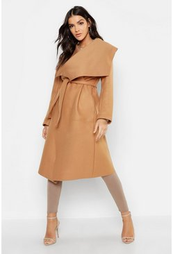 Womens Camel Shawl Collar Belted Wool Look Coat