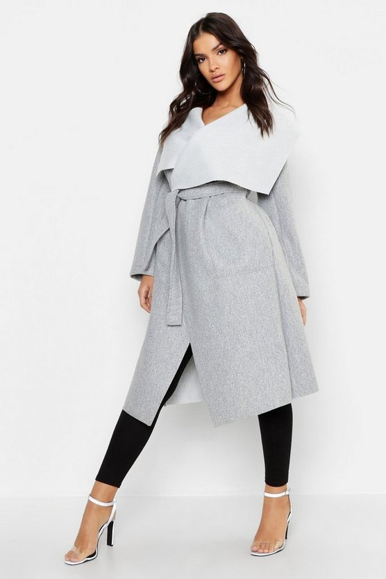 Womens Light grey Shawl Collar Belted Wool Look Coat