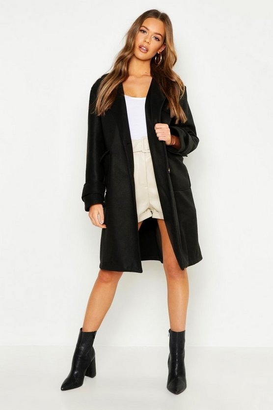 Womens Black Pocket Detail Utility Wool Look Coat