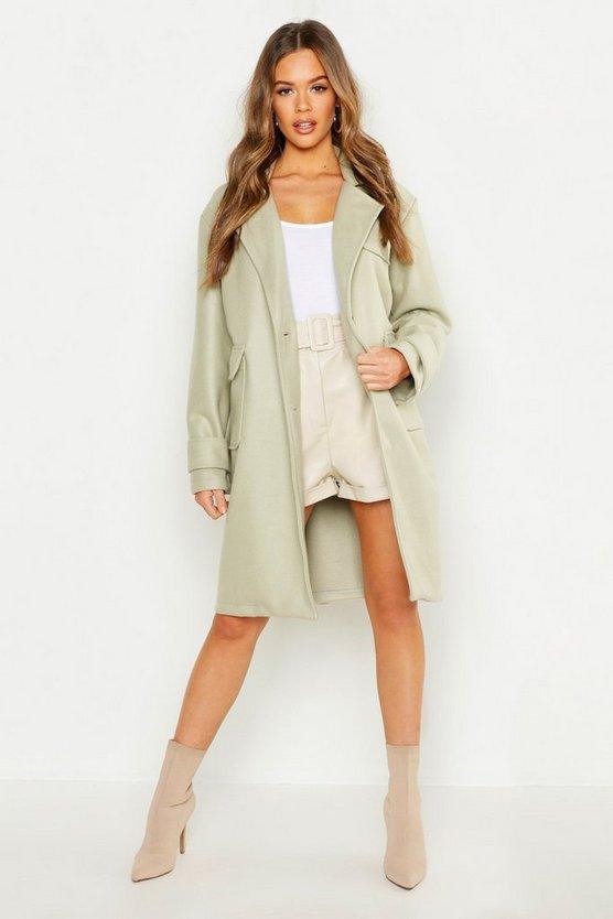 Pocket Detail Utility Wool Look Coat