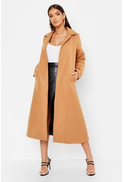 Womens Camel Longline Collared Wool Look Coat