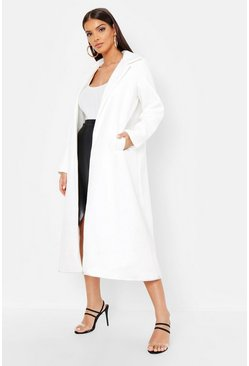 Womens Ecru Longline Collared Wool Look Coat