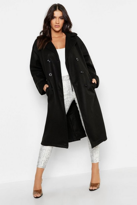 Black Longline Double Breasted Wool Look Coat