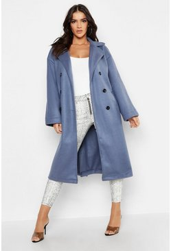 Manteau long look laine à double boutonnage, Bleu denim, Femme