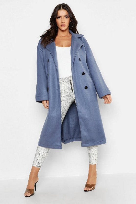 Womens Denim-blue Longline Double Breasted Wool Look Coat
