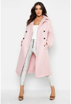 Manteau long look laine à double boutonnage, Rose doux, Femme