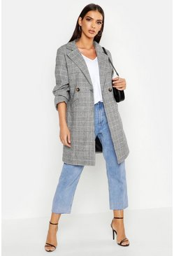 Womens Grey Double Breasted Checked Wool Look Coat