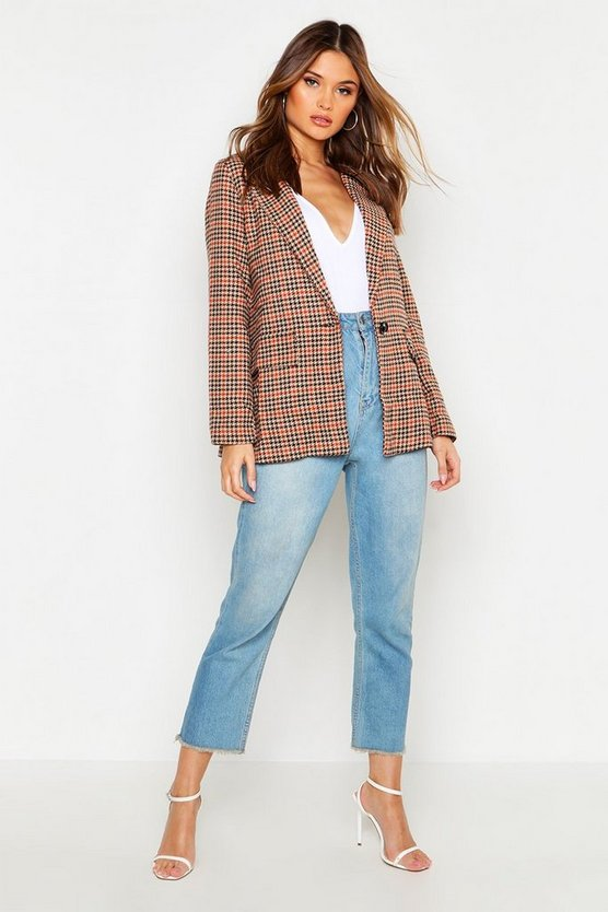 Brown Heritage Check Wool Look Coat