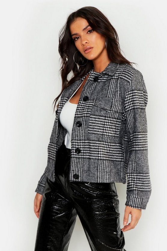 Womens Grey Checked Wool Look Trucker