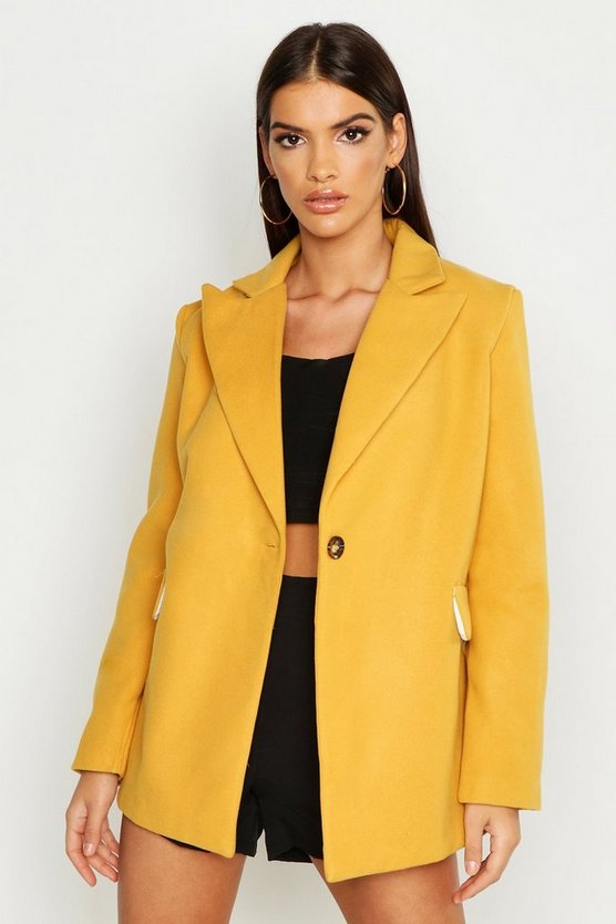 Oversized Blazer in Wolloptik, Senfgelb, Damen