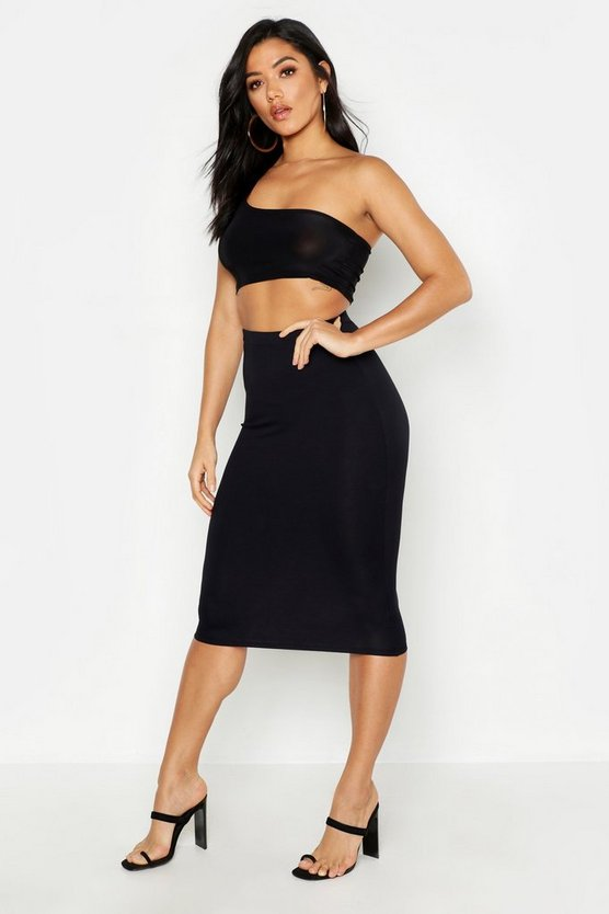 Womens Black Jersey Midi Skirt