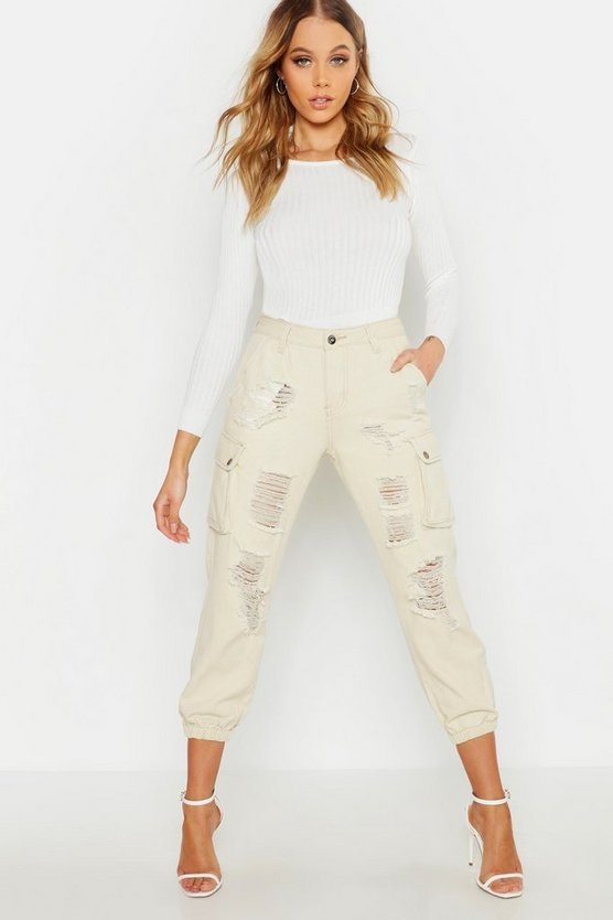 Womens Sand Denim Cargo Pocket Distressed Trouser