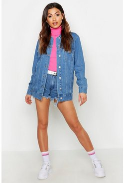 Womens Blue Longline Denim Jacket