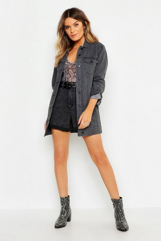 Washed Black Longline Denim Jacket