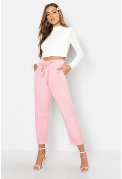 Womens Pink Paperbag High Waist Boyfriend Jean