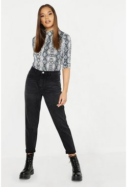 Black High Rise Boyfriend Jeans, Donna